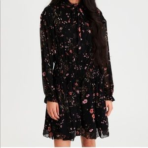 AE Floral Chiffon Tie Neck Fit & Flare Dress S